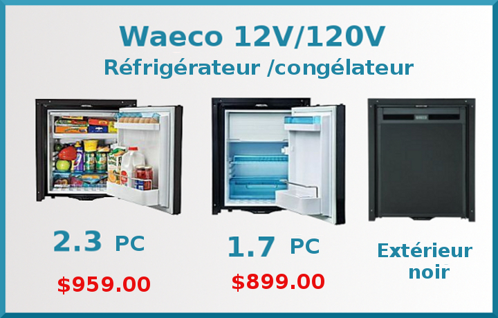 refrigerateur congelateur 12v 120v  waeco  montreal,dorval,quebec canada, toronto,vancouver,kingston,winnipeg,calgary,edmonton,ottawa,hawksbury,halifax